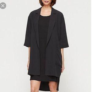 Eileen Fisher 100% silk black long blazer jacket S
